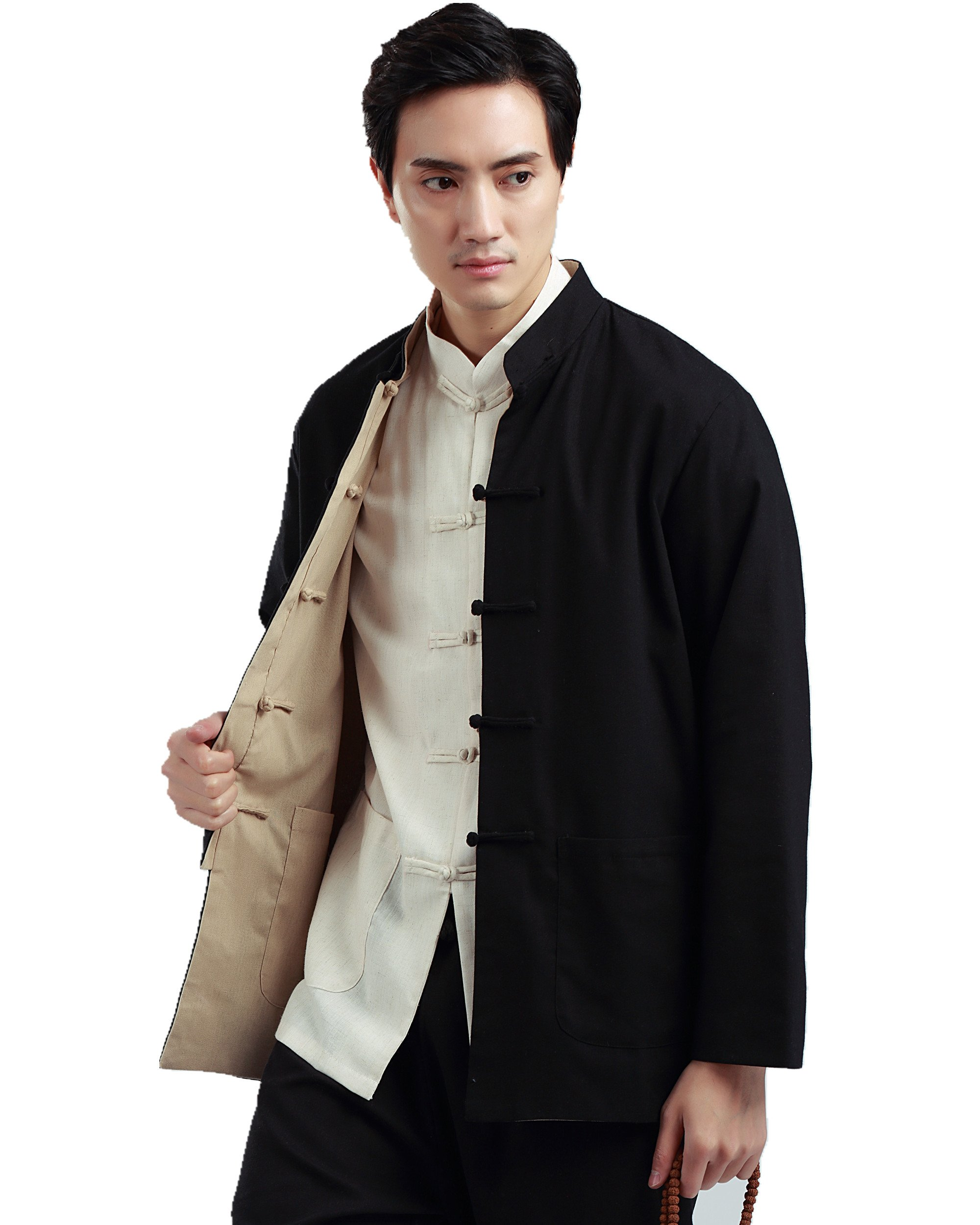 Shanghai Story Traditional Both Sides Wear Tang Kung Fu Jacket Black/Beige 5XL by Shanghai Story