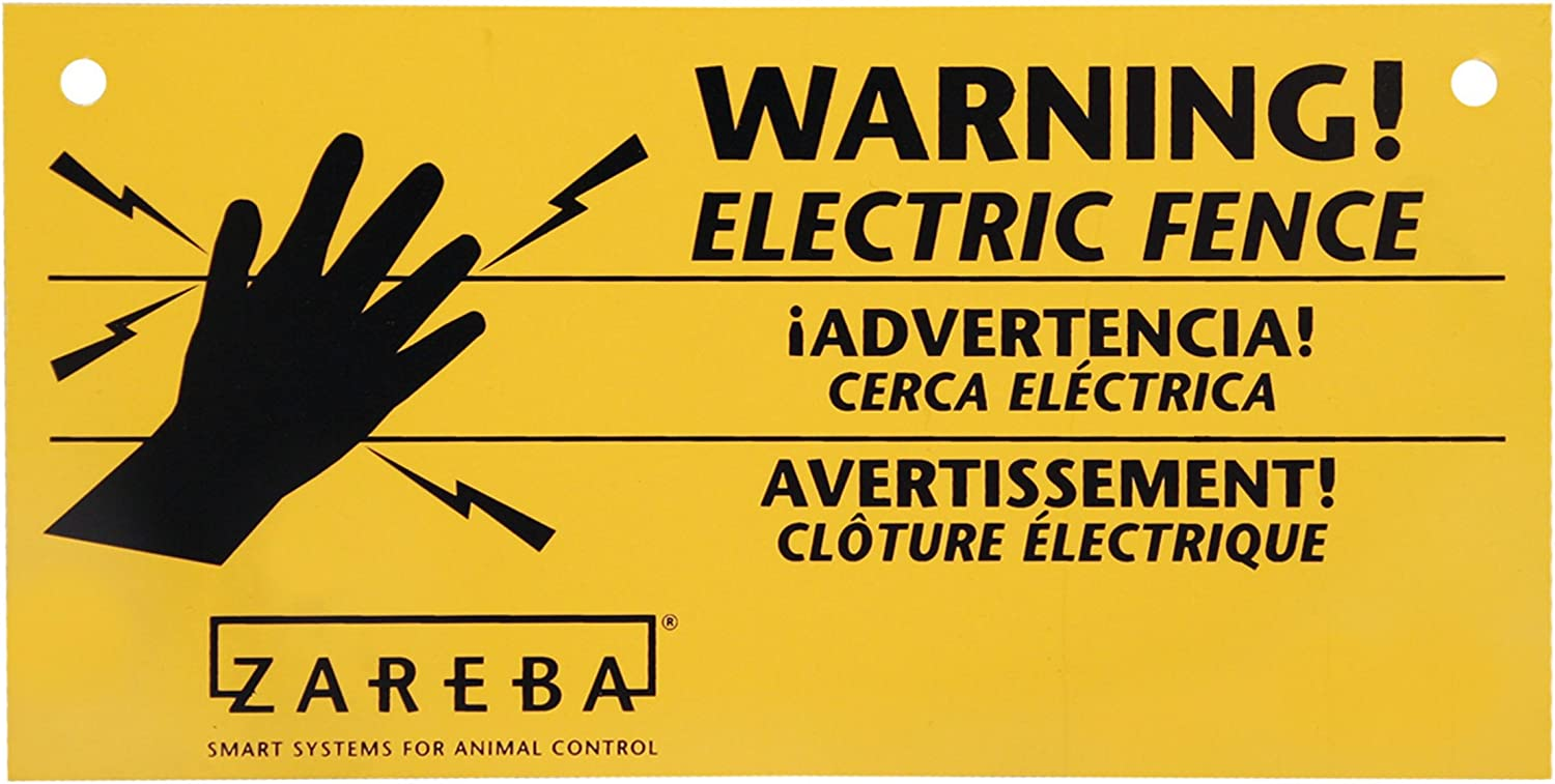 New 3 Pack Electric Fence Warning Sign UV Protected Visibility Resist Yellow