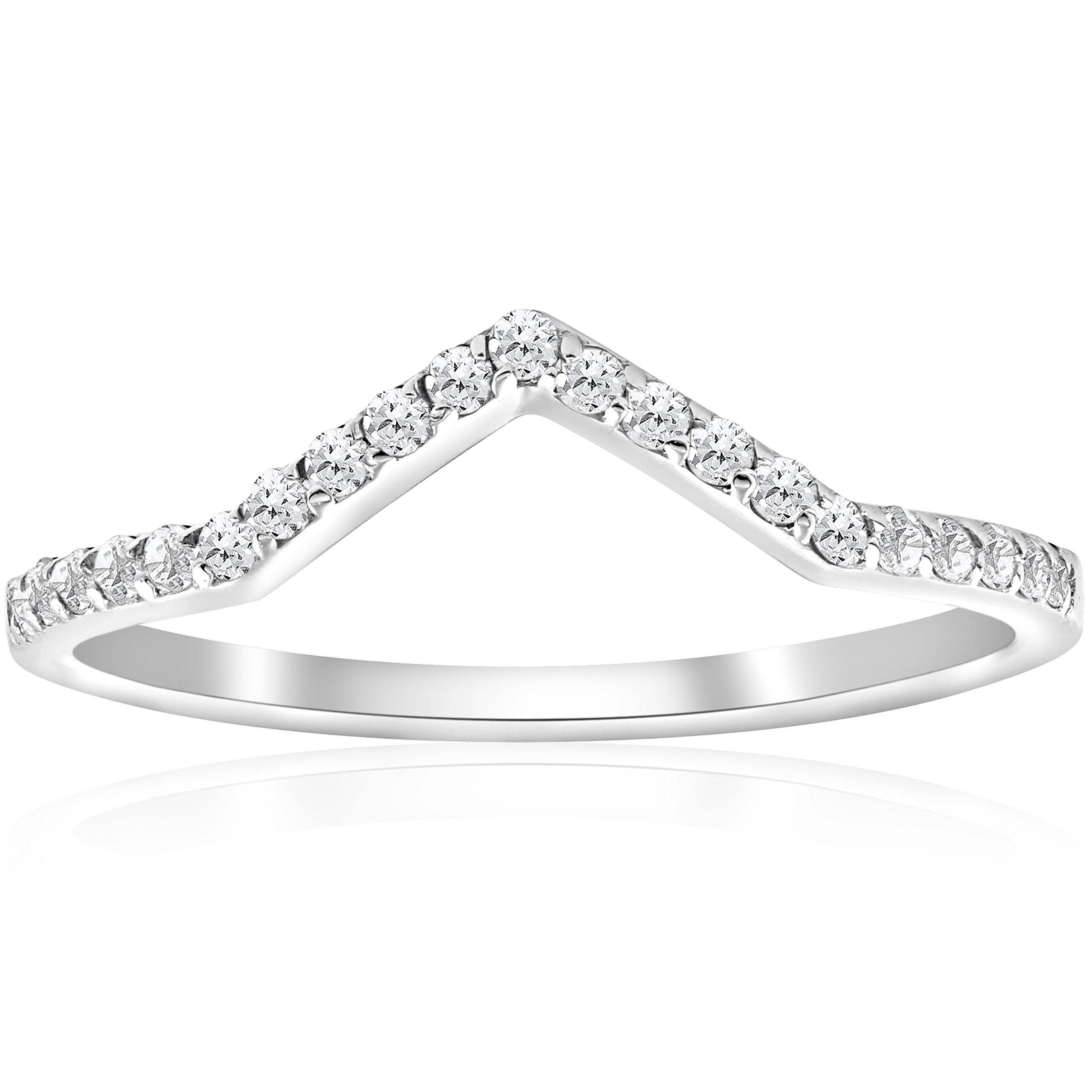 1/4ct Diamond Curved V Shape Ring Stackable Wedding Band 10k White Gold - Size 8 by P3 POMPEII3