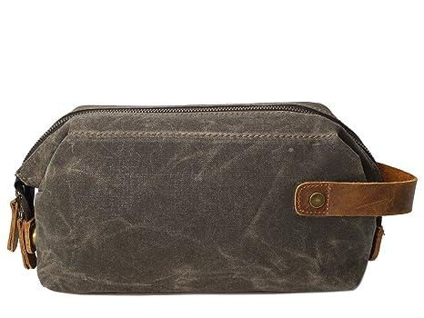 17540bcade49 Amazon.com: Shengjuanfeng Men's Clutch Bag Oil Wax Canvas Wash Bag ...