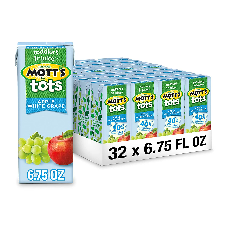 Mott's For Tots Apple White Grape, 6.75 Fluid Ounce Box, 8 Count (Pack of 4)