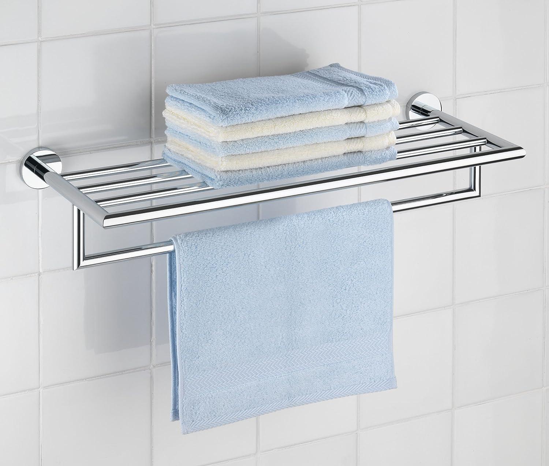 Badezimmer regal ohne bohren  WENKO 17961100 Power-Loc Wandregal mit Handtuchstangen Revello ...