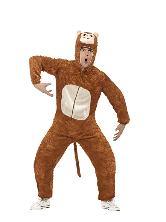 Amazon.com: Smiffys Mens Monkey Costume Adult Includes Jumpsuit with Hood: Clothing