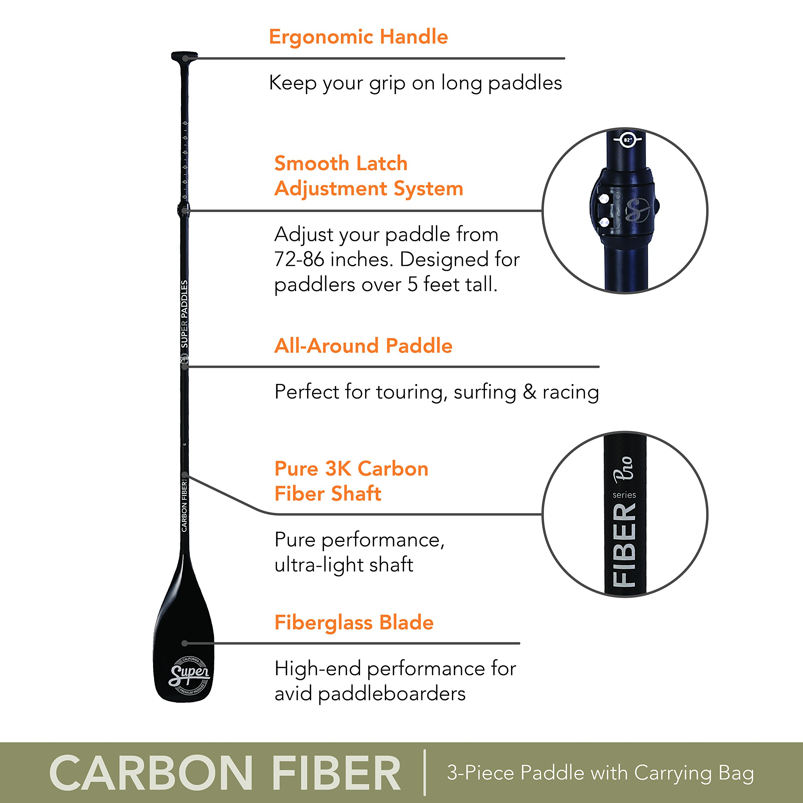 Super Paddles Carbon Fiber SUP Paddle - 3-Piece Adjustable Stand Up Paddle with Paddle Bag Carbon Fiber Series Pro - Carbon Fiber Shaft, Fiberglass Blade by Super Paddles (Image #4)