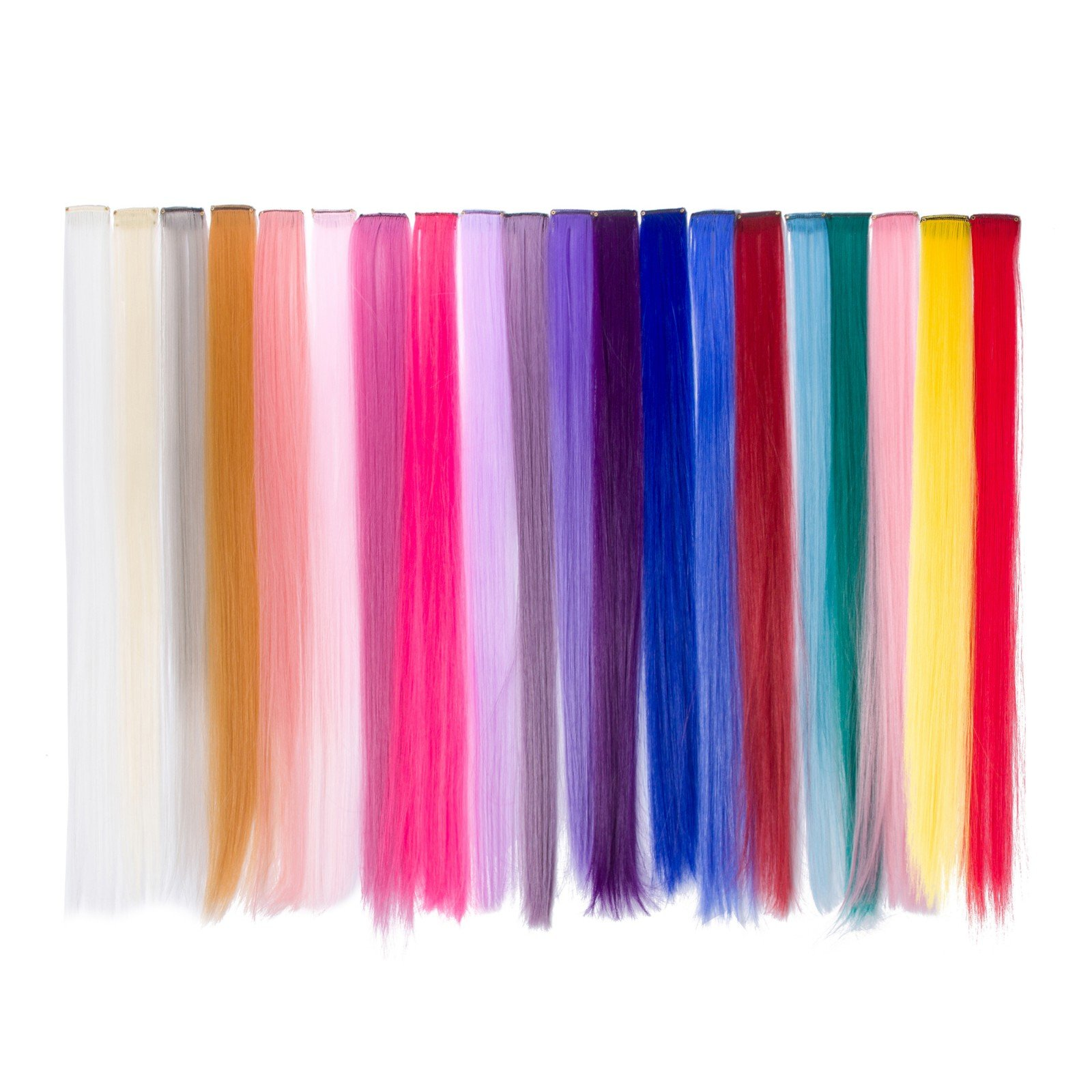 Beauty7 20 Pcs Set 19.7 inch Pelucas Colores Lacio Clip Cosplay Fiestas Party Pelucas Disfraz Extensiones
