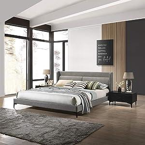 Armen Living Legend 3 Piece Fabric King Platform Bed and Nightstands Bedroom Set, Gray/Black