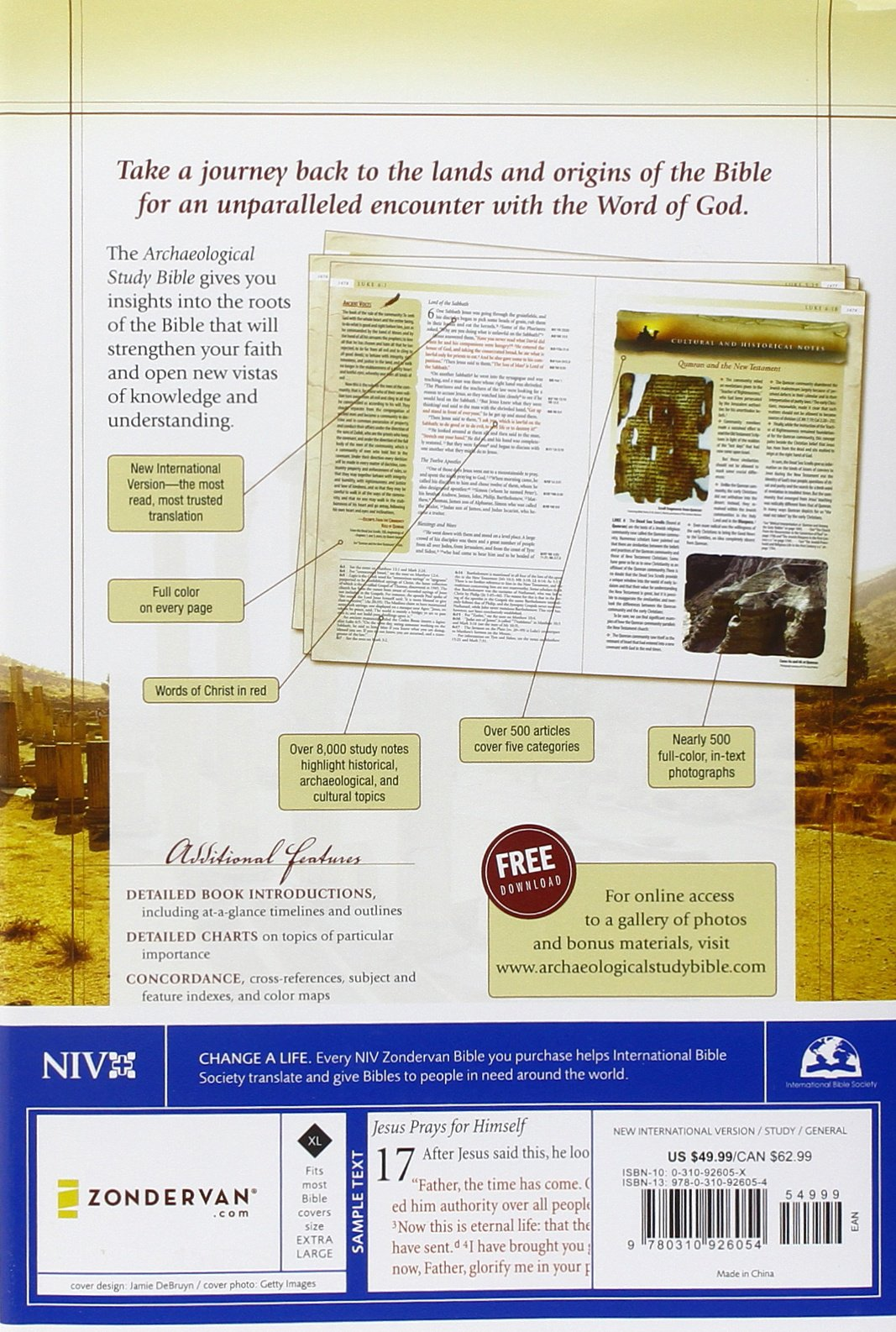 NIV, Archaeological Study Bible, Hardcover: An Illustrated Walk Through Biblical History and Culture (New International Version)