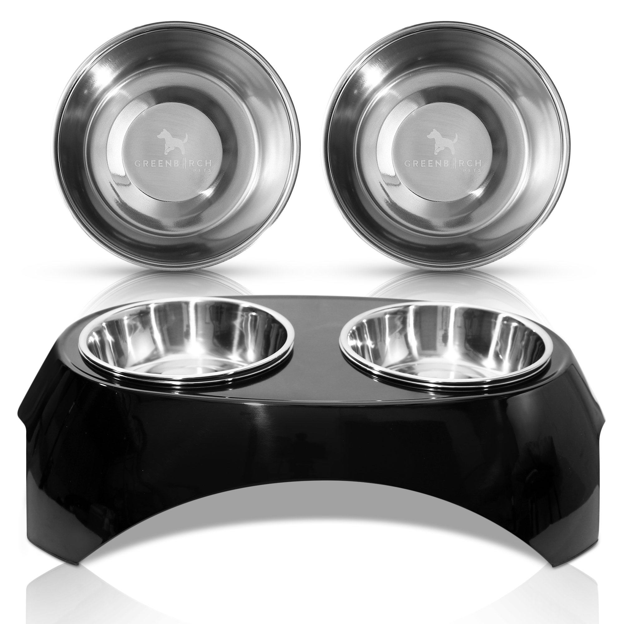 Green Birch Pets Elevated Dog Bowl -Raised Pet Feeder Stand- 2 Extra Stainless Steel Bowls Included- FDA Compliant- BPA Free