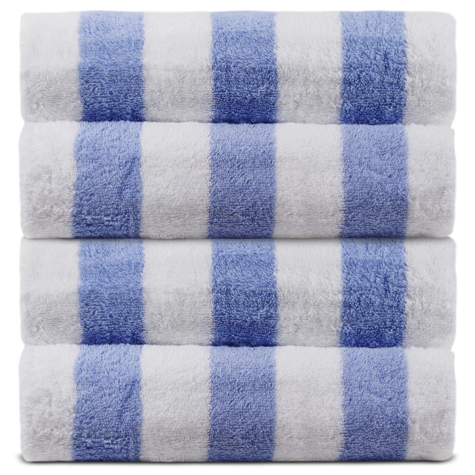 Luxury Hotel & Spa Towel 100% Cotton Pool Beach Towels - Cabana (Cabana Beach Towels - Set of 4, Light Blue)