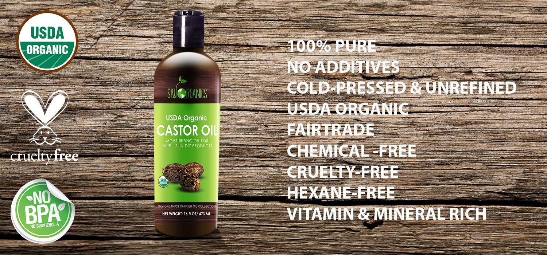 Aceite de ricino Sky Organics de 473 ml sin refinar, 100% puro, sin hexano, hidratante y saneador para piel seca o crecimiento del cabello, para el cuidado ...
