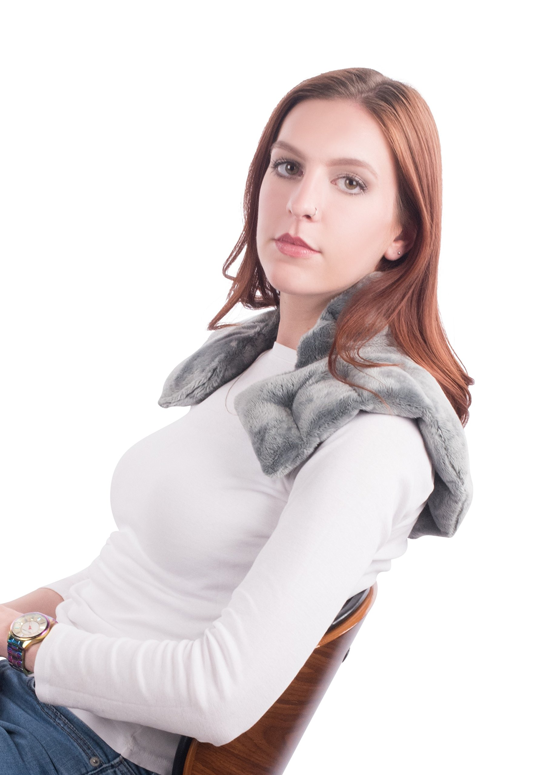 Heated Microwaveable Neck and Shoulder Wrap - Herbal Hot / Cold Deep Penetrating Herbal Aromatherapy (Charcoal)
