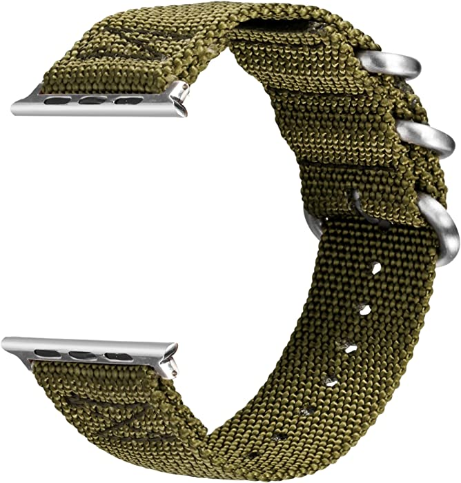 VIGOSS Bands for Apple Watch 40mm Band 38mm, Woven Nylon NATO iWatch Bands Soft Replacement Strap with Metal Ring Buckle Bracelet for Apple Watch Series 4 3 2 1 Sport (Army Green,40mm/38mm)