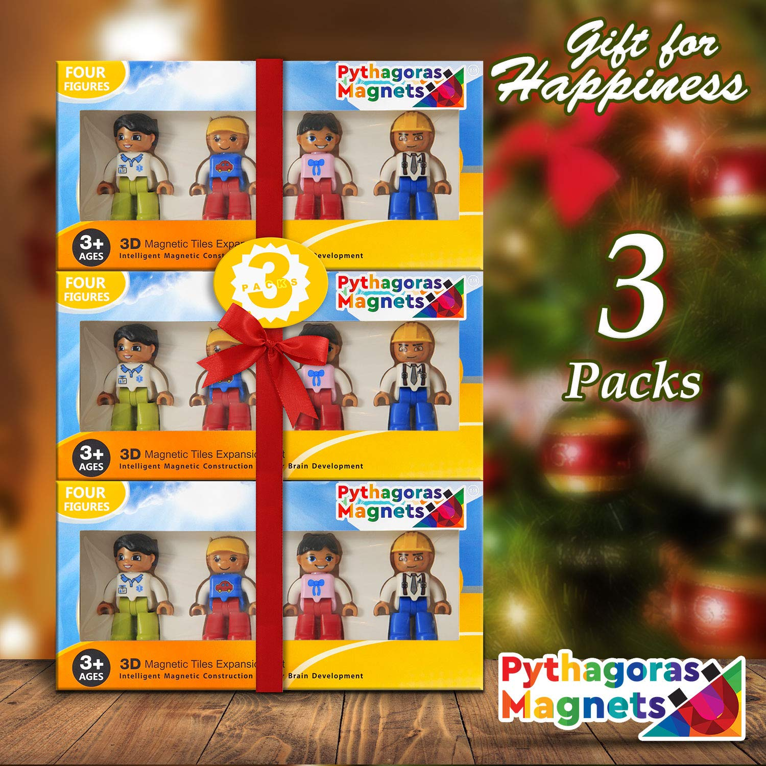 Magnetic Figures Set of 4 -Toddlers Action Toy People, Magnetic Tiles Expansion Pack for Boys and Girls - Banker Father Educational STEM Toys Add on Sets for Magnetic Blocks (3 Pack Banker Set) by Pythagoras Magnets (Image #1)