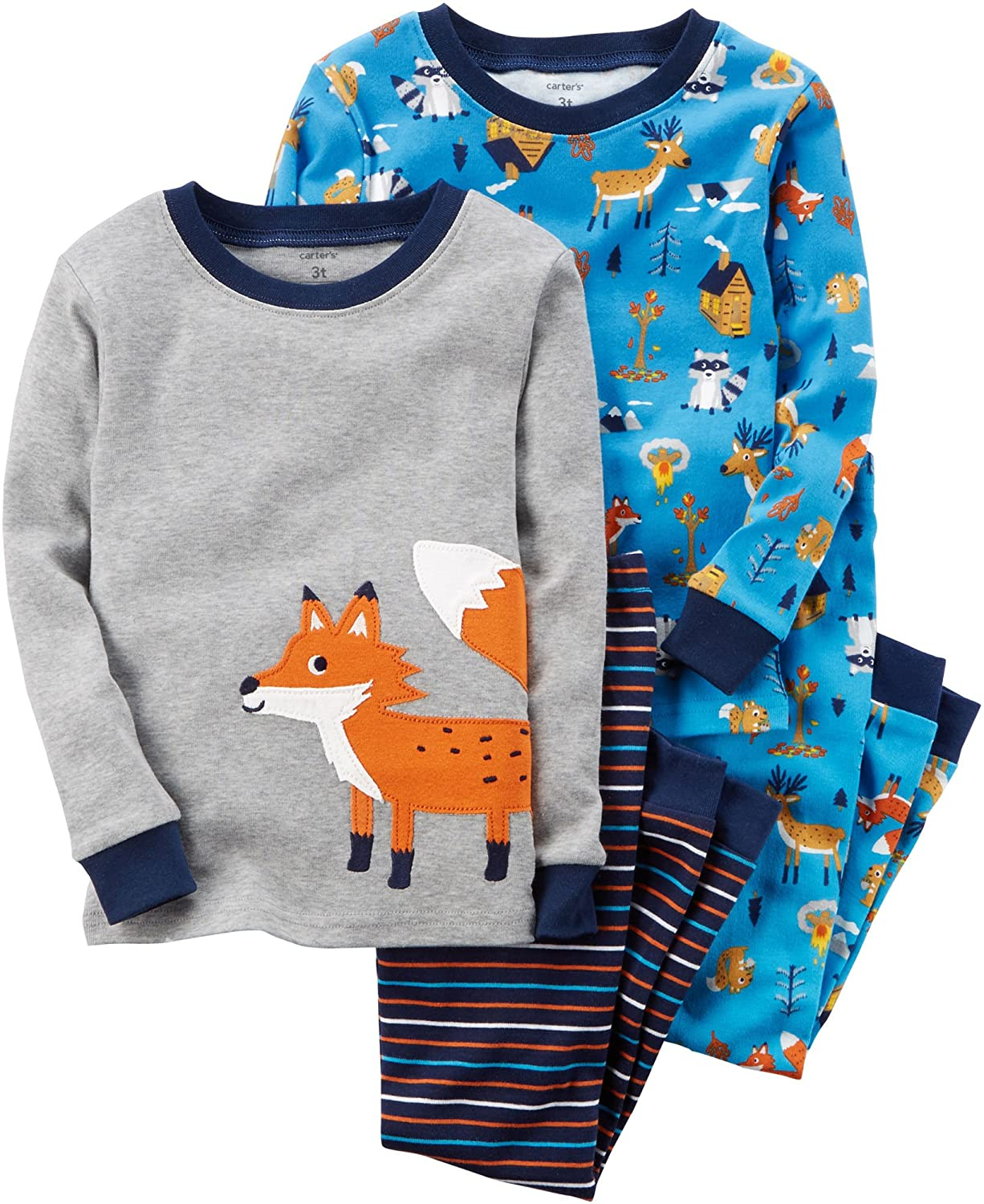 9b267011174a Amazon.com  Carter s Boys  12M-12 4 Piece Fox Pajamas Set Gray 4 ...