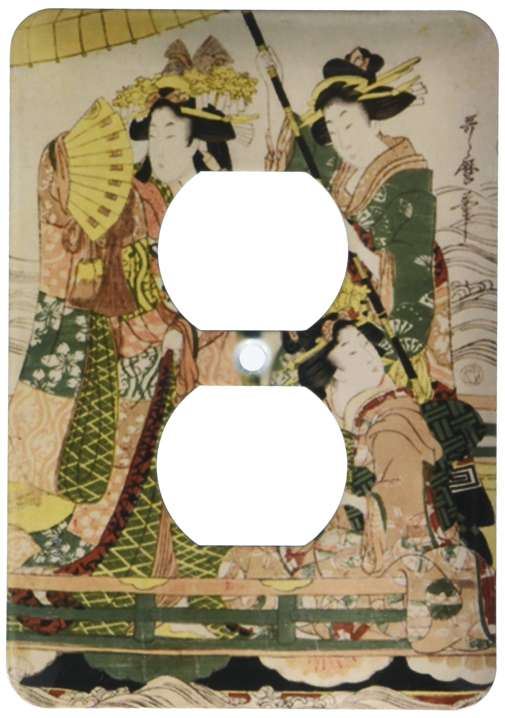 3dRose lsp_194735_6 Print of Three Traditional Dressed Japanese Ladies on Boat 2 Plug Outlet Cover