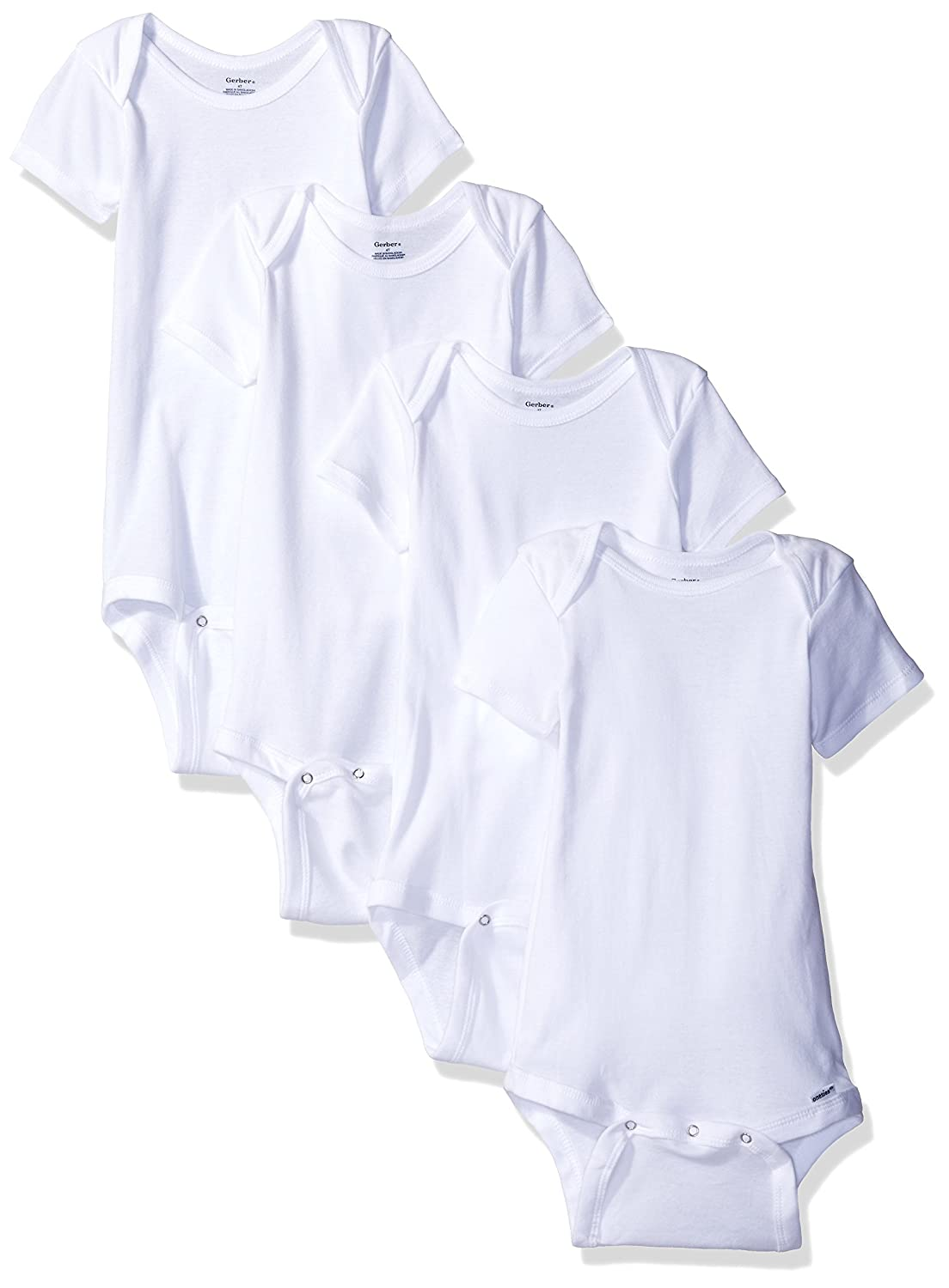 Gerber Baby 4 Pack Onesies, White, 3T Gerber Children's Apparel 68836416A10103T