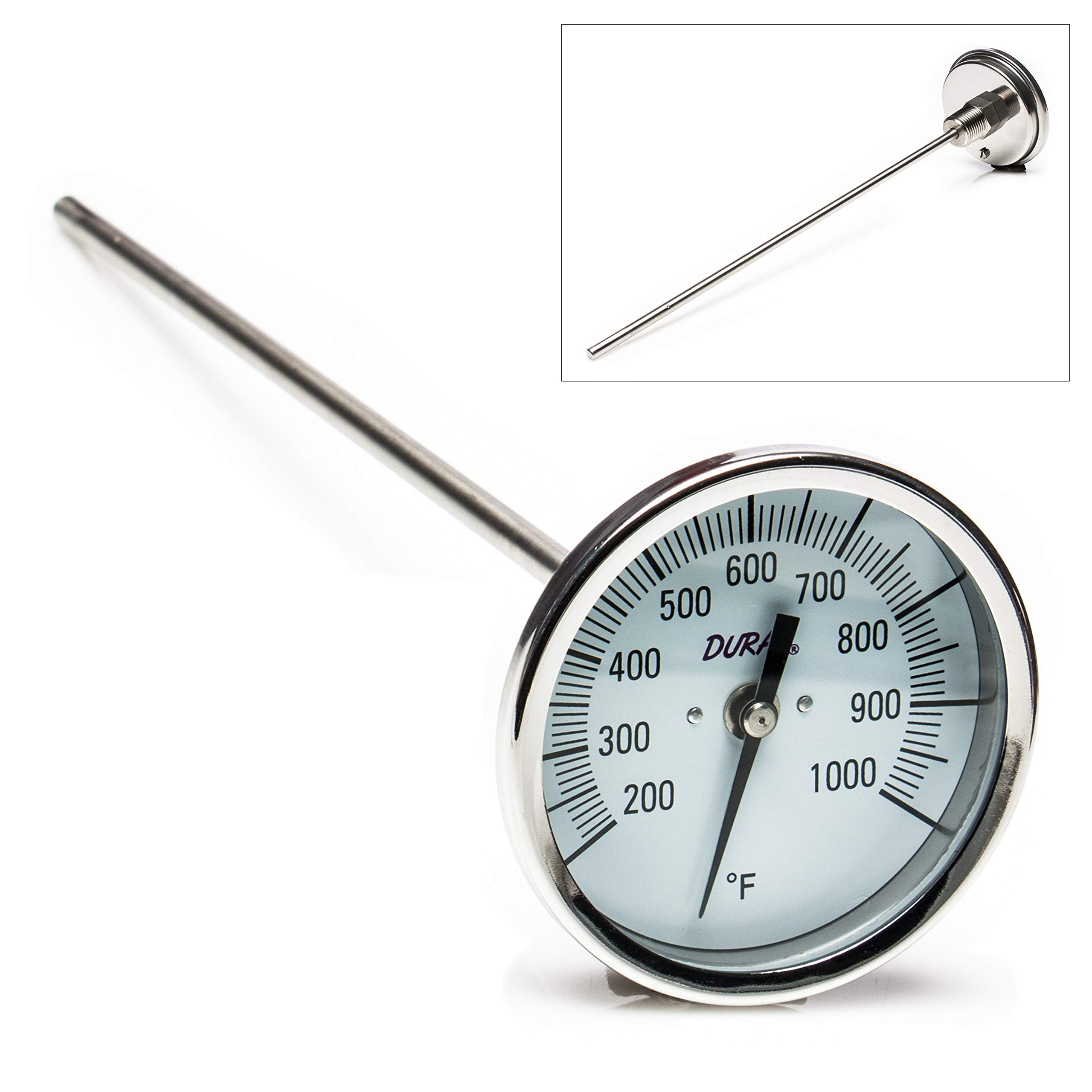 H-B DURAC Bi-Metallic Dial Thermometer; 200 to 1000F, 1/2 in. NPT Threaded Connection, 75mm Dial (B61310-8800)