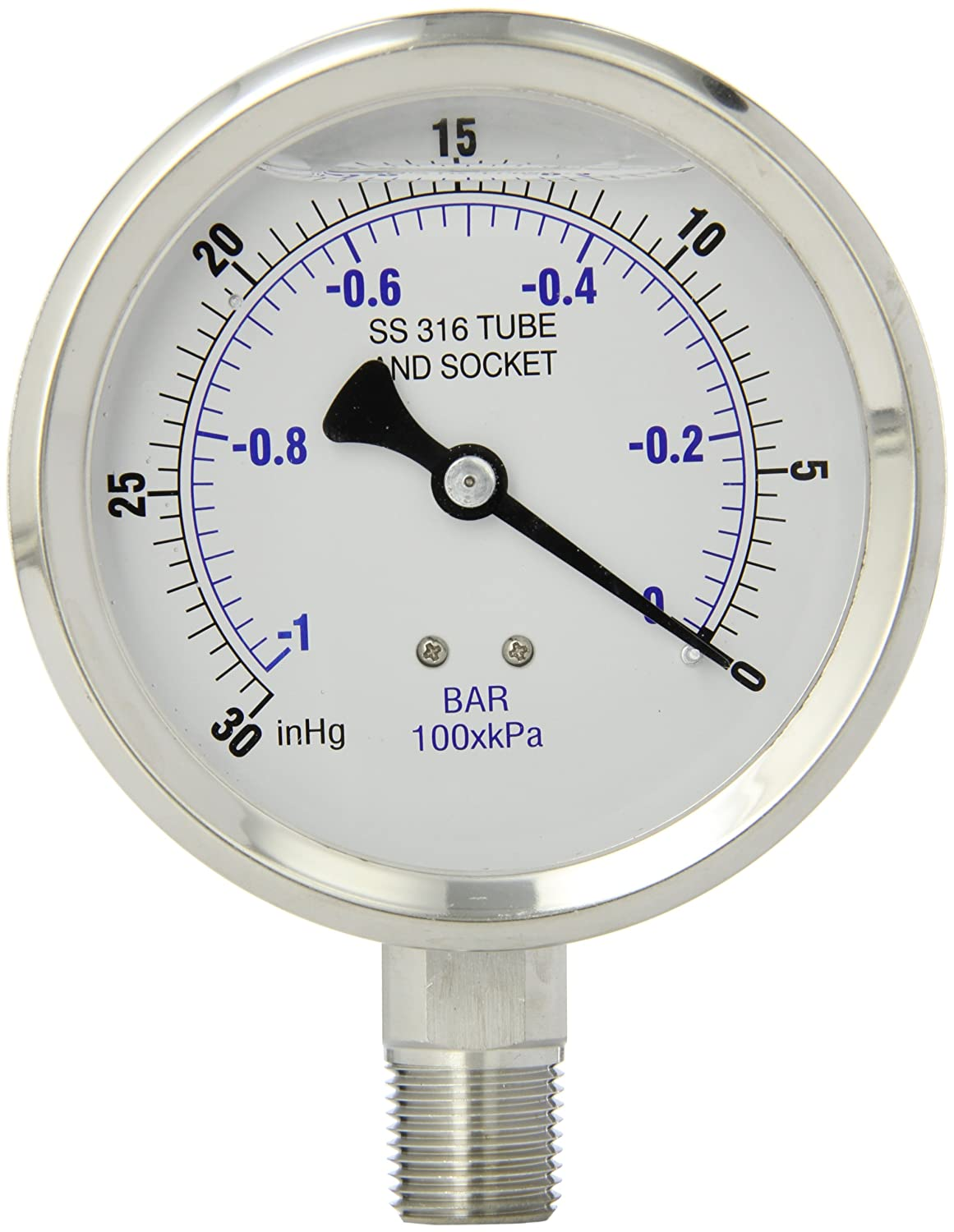 Stainless Steel Bezel Bottom Mount Glycerine Filled Pressure Gauge with a Stainless Steel Case and Internals 1//2 Male NPT Connection Size 30//0 hg Vacuum psi Range PIC Gauge 301L-402A 4 Dial and Polycarbonate Lens 30//0 hg Vacuum psi Range PIC Gauges