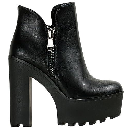 Toocool - Scarpe donna stivali stivaletti tronchetti tacco zeppa ecopelle  zip nuovi W15055  41 6733c191a82