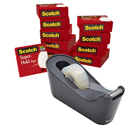 Amazon.com : Scotch Tape Dispenser Value Pack with Scotch Super-Hold Tape, Black Dispenser, 1 in Core, 12 packs (700K10C18BLK) : Office Products