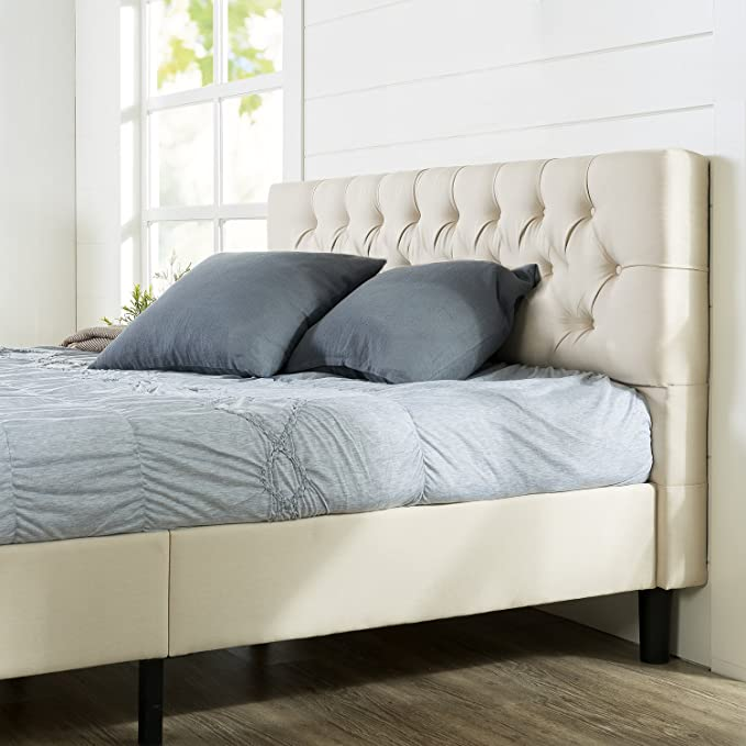 Zinus Misty Upholstered Modern Classic Tufted Platform Bed, King