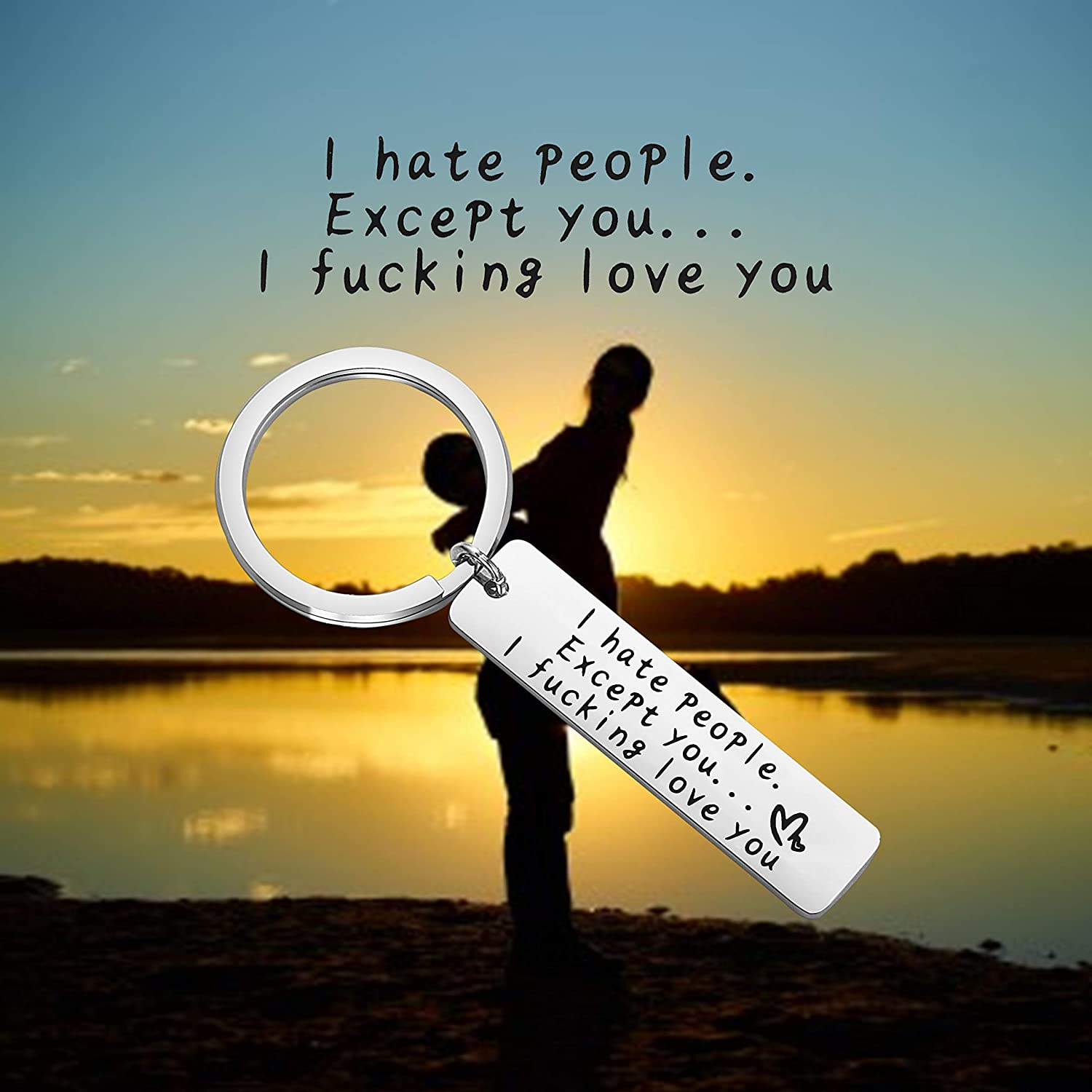 MYOSPARK I Hate People Except You I Fucking Love You Funny Keychain for Boyfriend Best Friends