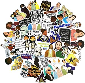 Musical Hamilton Stickers, 50pcs, Funny Stickers for Laptop, Water Bottle, Computer, Hydro Flask, Travel Case, Toy, DIY Decoration as Gifts for Kids, Girls, Teens. Hamilton