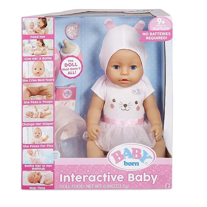 Amazon.com: Baby Born Interactive Doll - Ojos azules con 9 ...