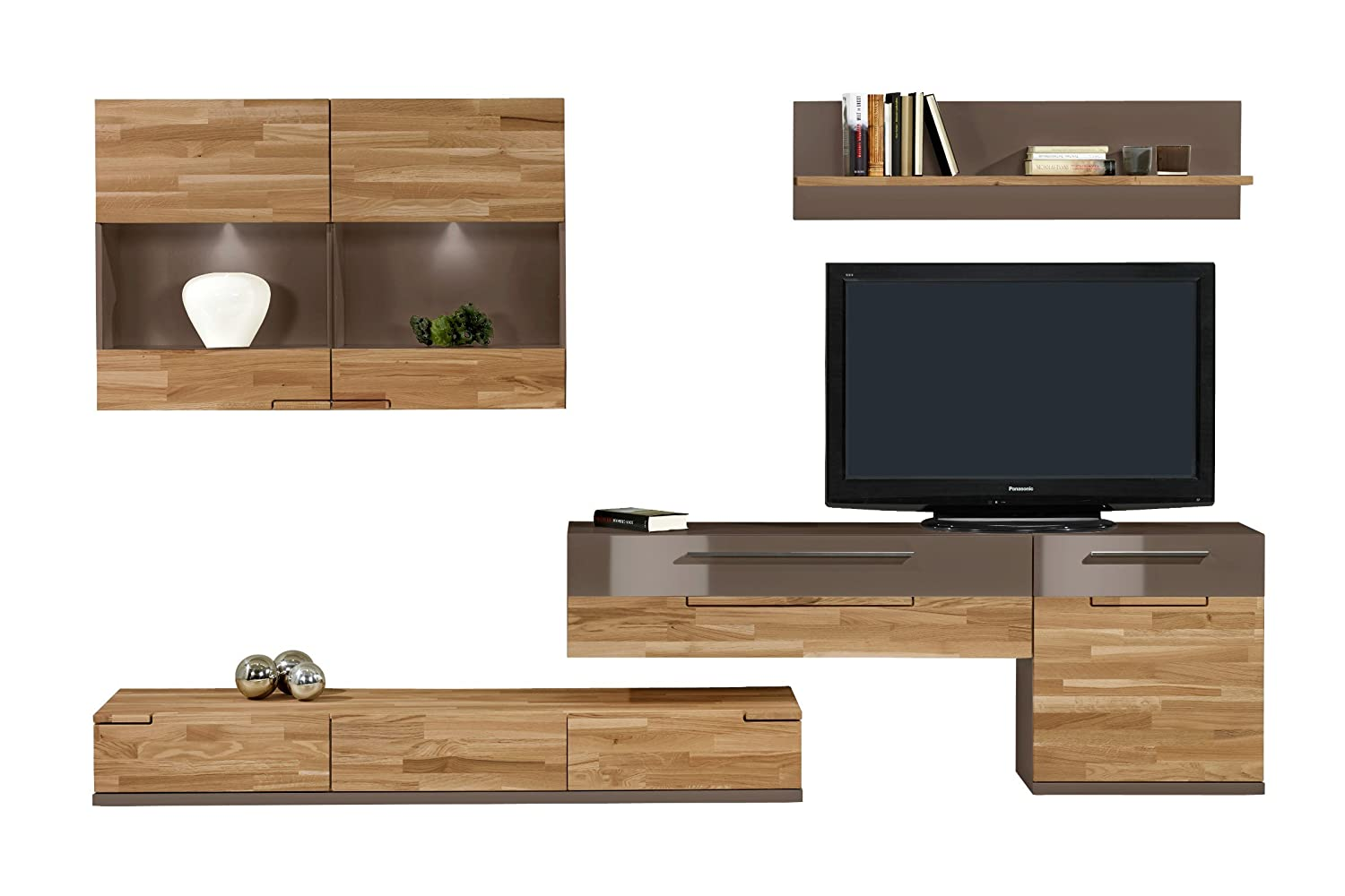 wohnwand feel ii wohnzimmerwand tv wand massivholz eiche by arte m farbe eiche cubanit kaufen. Black Bedroom Furniture Sets. Home Design Ideas
