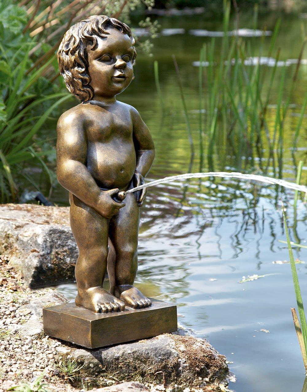 Belgian Boy, Gold Finish, Water Feature, Brussels Boy Pond Statue PondKraft