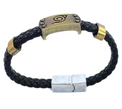 Naruto Konoha Logo Símbolo - Pulsera de aleación de cosplay conjunto hebilla magnética pulsera piel: Amazon.es: Joyería