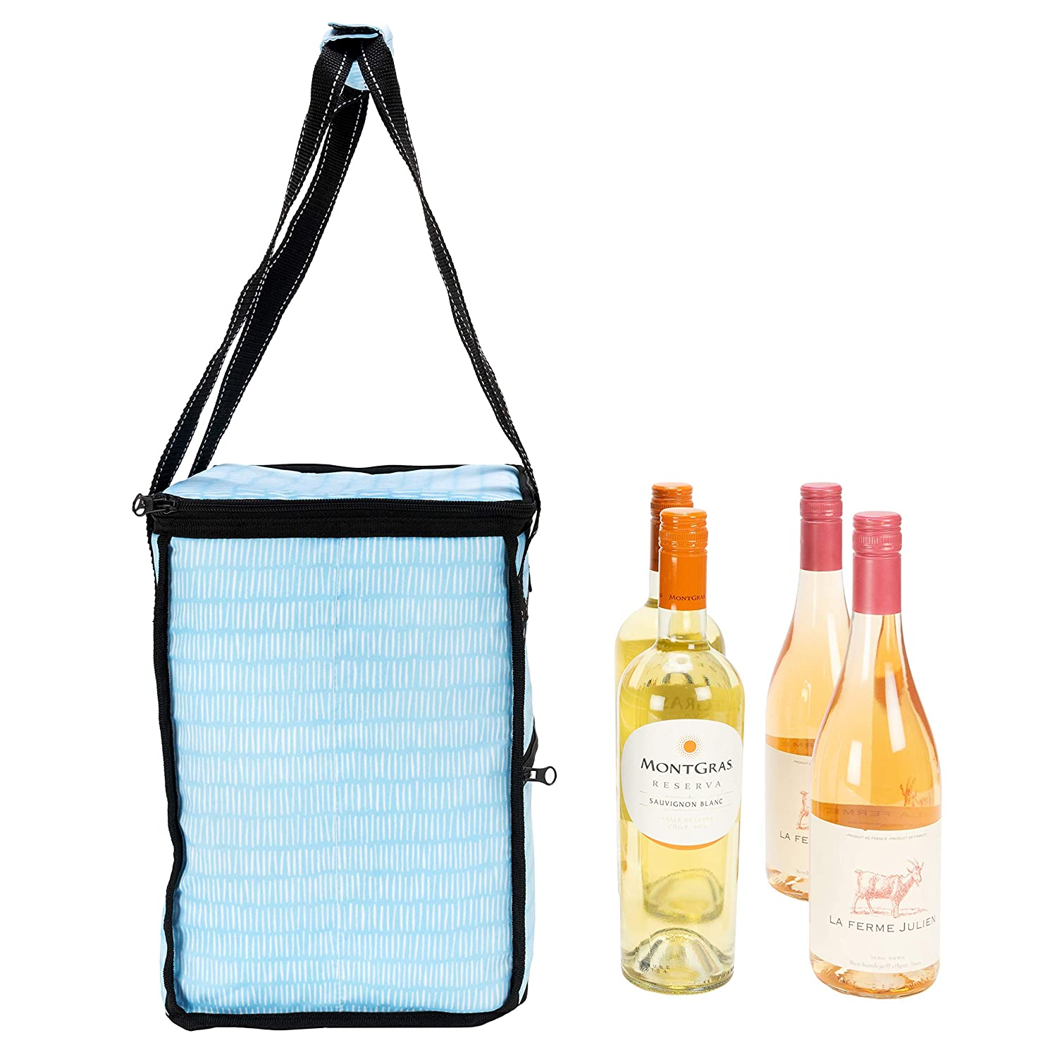 PVC-Free Liner Water Resistant Fits a 6 Pack or 4 Bottles of Wine SCOUT Pleasure Chest Insulated Soft Cooler Zips Closed Heat-Sealed