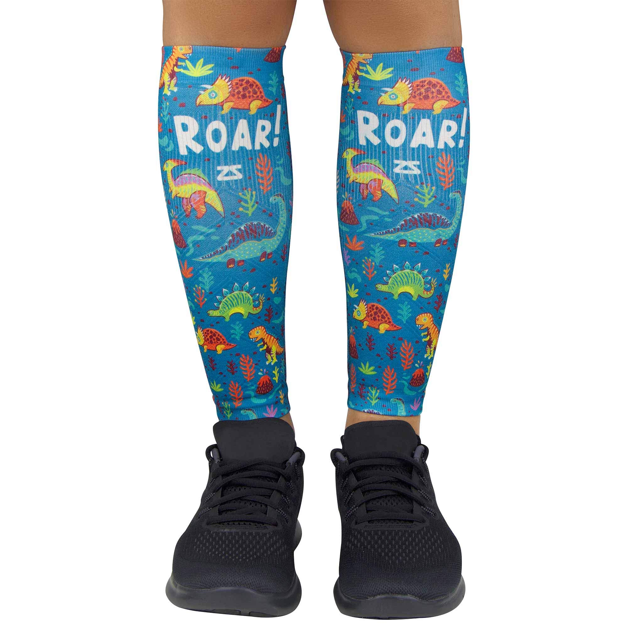Zensah Compression Leg Sleeves – Helps Shin Splints, Leg Sleeves for Running (X-Small/Small, Dinosaurs-Teal)