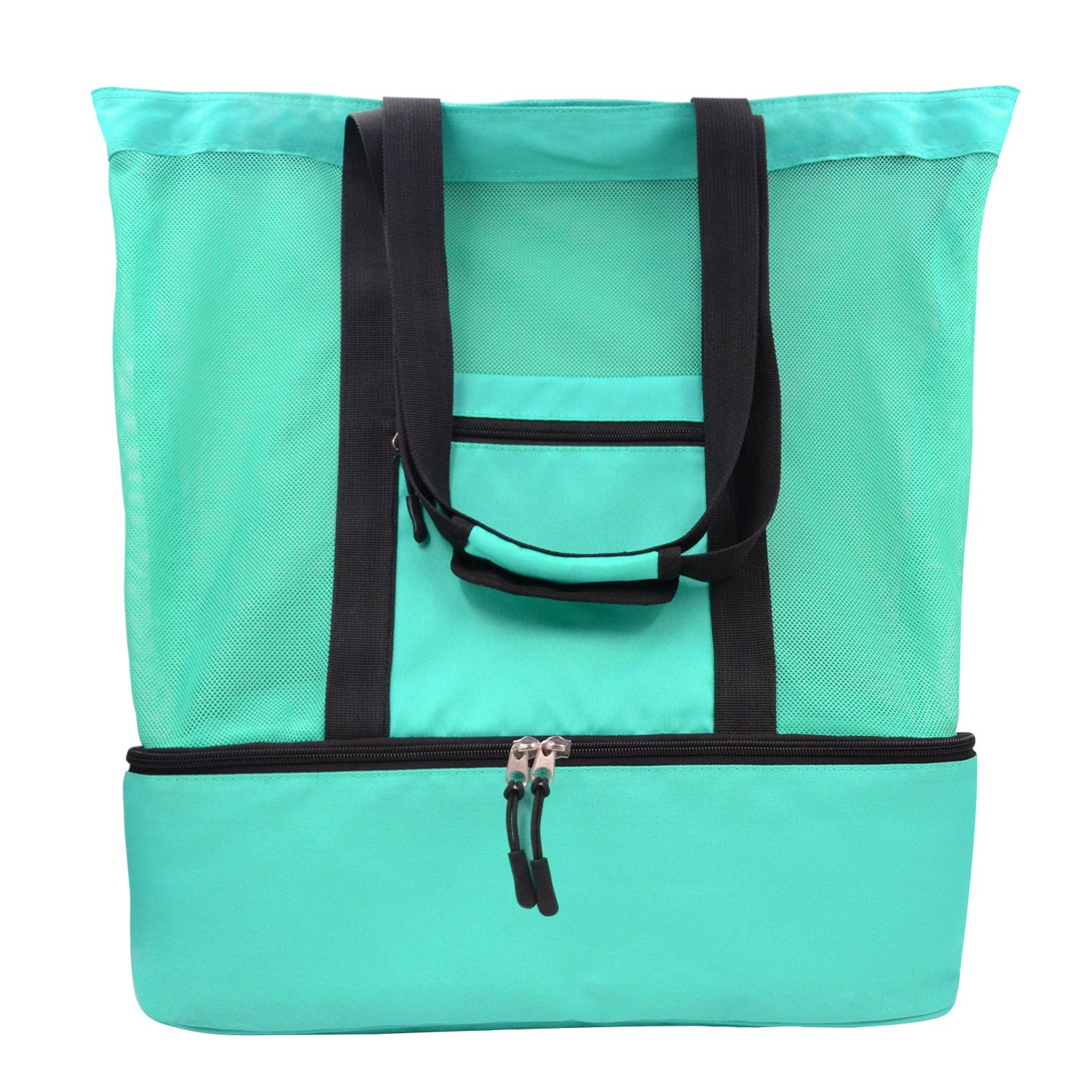 Mesh Beach Tote Bag, LEFON 2 in 1 Outdoor Travel Bag with Zipper Top and Insulated Picnic Cooler, Green 40L