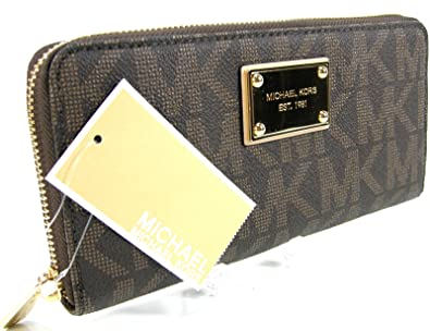 48576b7a6e30 New Michael Kors MK Logo Wallet Purse Hand Bag Genuine Brown Leather Jet  Set: Amazon.co.uk: Shoes & Bags