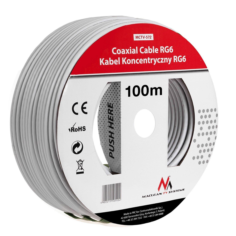 Maclean MCTV-572 SAT-Antennenkabel 100m de los cables coaxiales RG6 1.0CSS TV por cable: Amazon.es: Bricolaje y herramientas