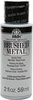 product image for FolkArt Brushed Metal Paint in Assorted Colors (2 oz), Pale Silver