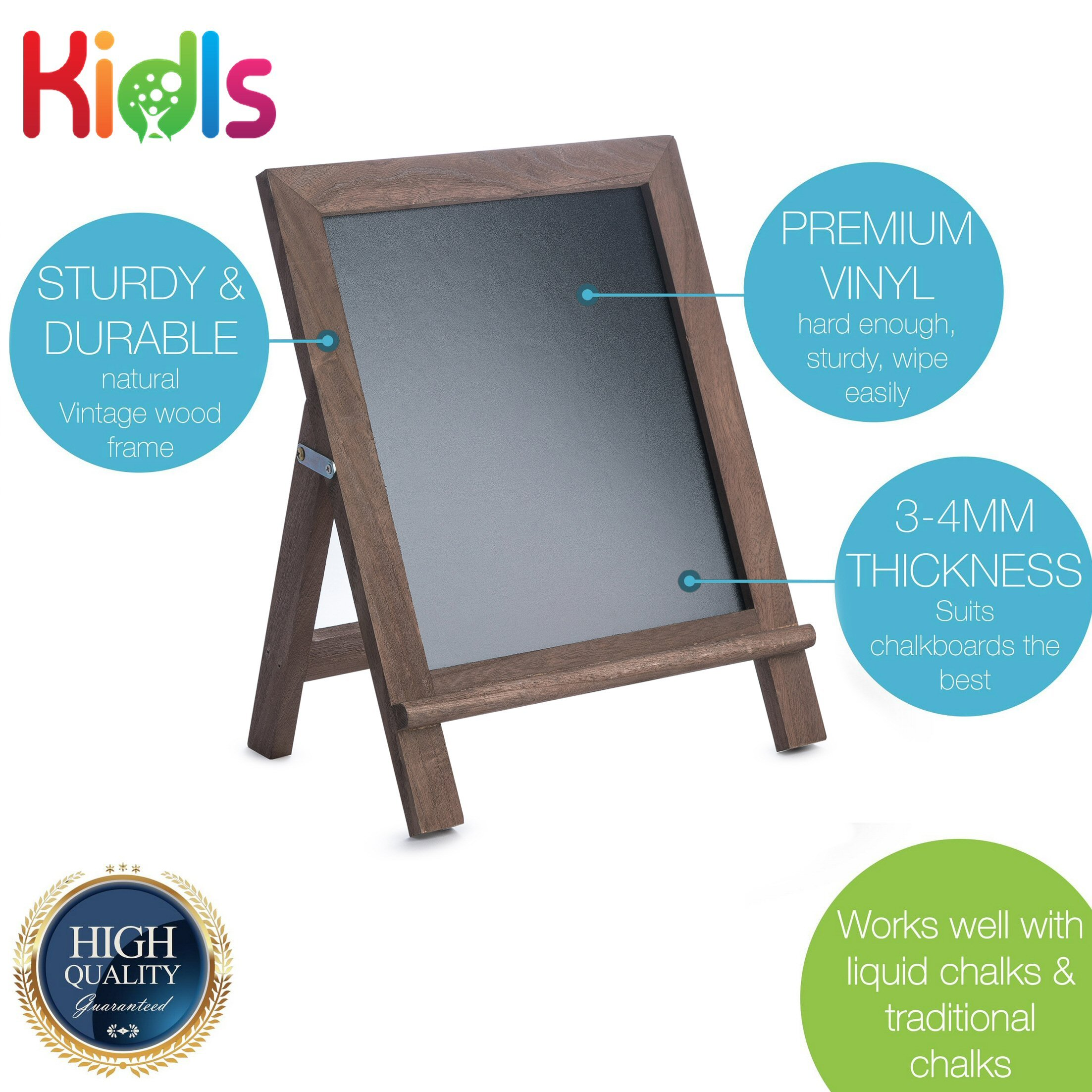 Premium Wood Framed Rustic Standing Chalkboard 12 x 16. Non-Porous Vinyl Surface. For Home, Bars, Restaurants and Weddings - for the Vintage Look! FREE BONUS: 24 chalks + Eraser + Storage Bag by KidisPro (Image #3)