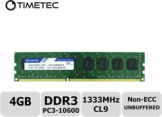 TALLA 4GB. Timetec Hynix IC 4GB DDR3 1333MHz PC3-10600 Unbuffered Non-ECC 1.5V CL9 2Rx8 Dual Rank 240 Pin UDIMM PC Sobremesa Memoria Principal Module Upgrade (4GB)