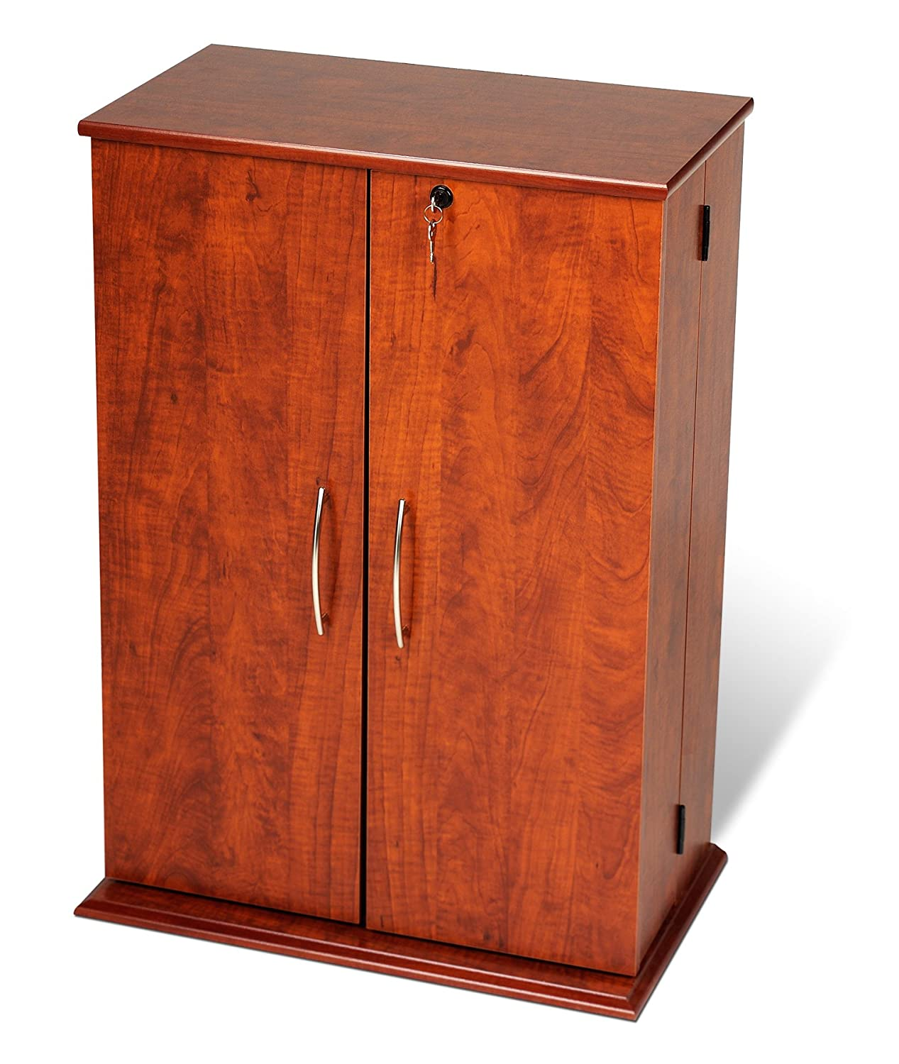 Cherry Wood Dvd Storage Cabinet Amazoncom Cherry Black Locking Media Storage Cabinet Kitchen