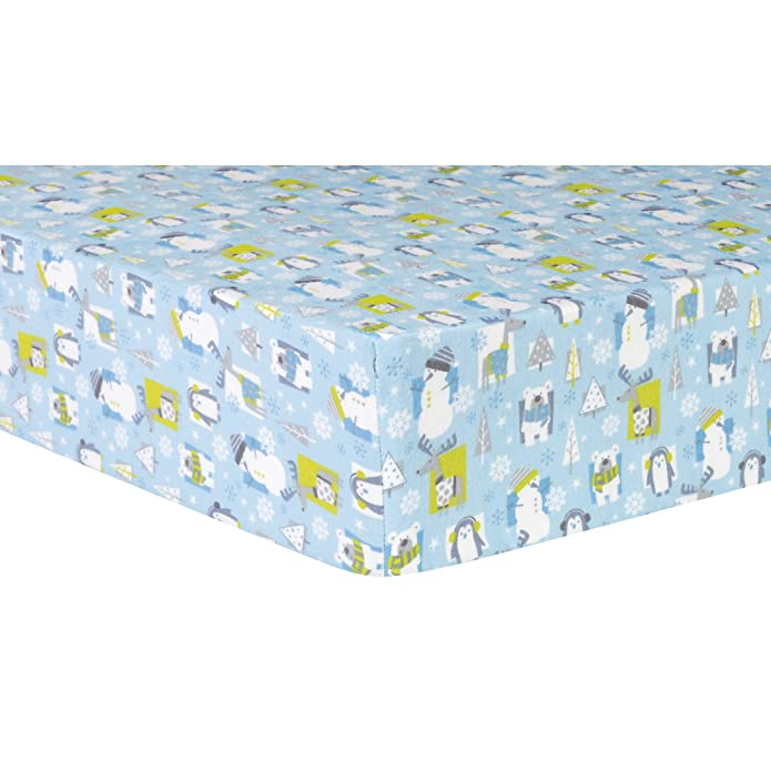 Trend Lab Deluxe Flannel Fitted Crib Sheet - Blue Snow Pals