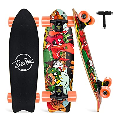 7 Layer Canadian Maple Double Kick Deck Concave Trick Skateboard 27 Inch Complete Skateboard for Kids Teens Adults Beleev Cruiser Skateboards for Beginners