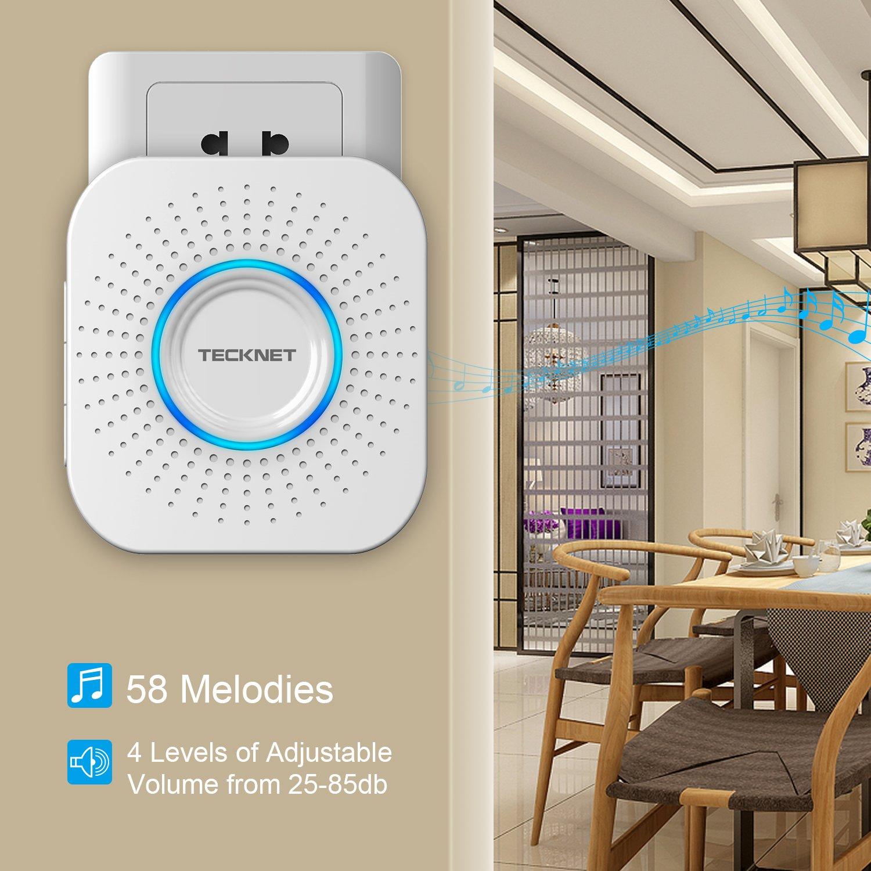 TeckNet Timbre Inalámbrico Impermeable, Timbre Exterior Resistente Al Agua (Adecuado para Ancianos), 58 Melodías, Volumen Ajustable, Indicador LED, ...