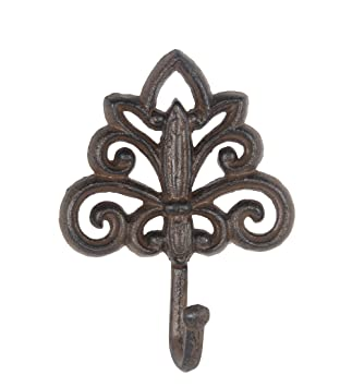 Amazon.com: Metal Decorative Wall Hooks Rust Brown Finish Cast ...