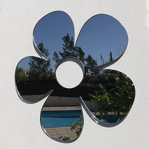 Servewell - Espejos de jardín con diseño de Margaritas, Plateado ...