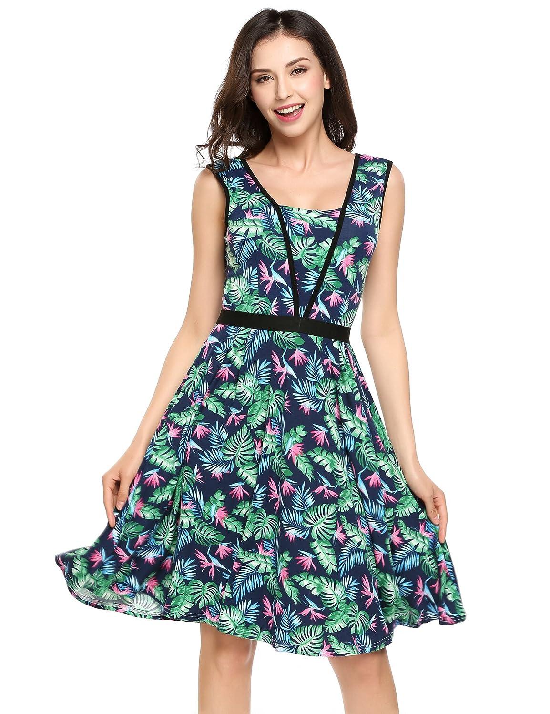 Rockabilly Kleid Damen Damenkleid Schwarz Schlicht Eleganz Sommerkleid Freizeit
