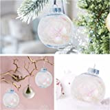 """KI Store Clear Plastic Ornaments Fillable Christmas Balls with Twinkle Trim for Wedding Anniversary Decorations Set of 6(3.15"""")"""