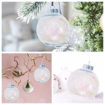 KI Store Clear Plastic Ornaments Fillable Christmas Balls with Iridescence  Trim for Wedding Anniversary Decorations Set - Amazon.com: KI Store Clear Plastic Ornaments Fillable Christmas
