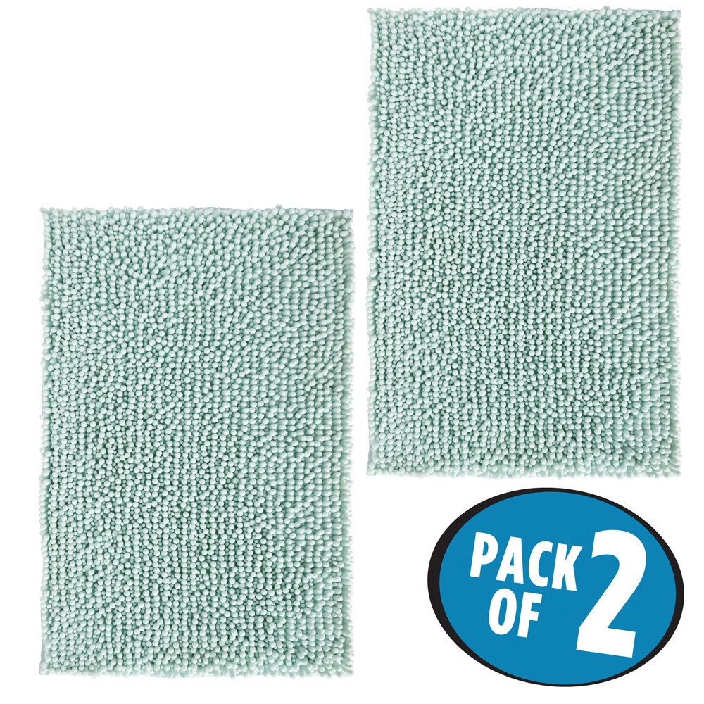 mDesign Soft Microfiber Polyester Non-Slip Rectangular Spa Mat, Plush Water Absorbent Accent Rug for Bathroom Vanity, Bathtub/Shower, Machine Washable - 30'' x 20'' - Pack of 2, Light Aqua Blue
