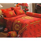 Amazon Com Official Manchester United F C Pulse Reversible Double Duvet Quilt Cover Set Home Kitchen
